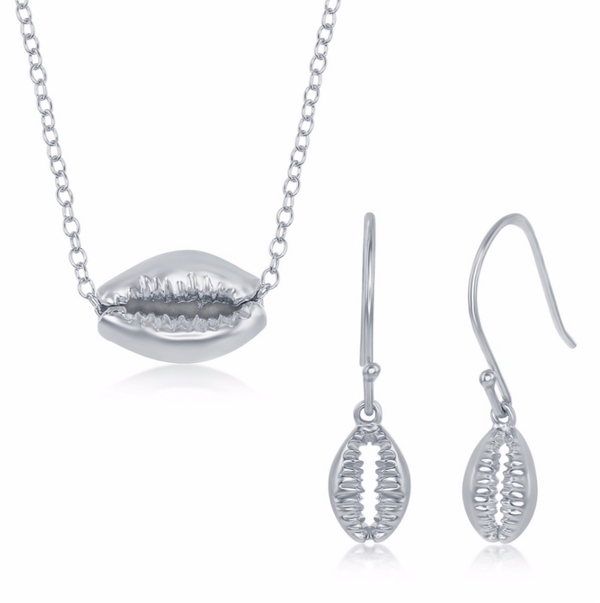 Sterling Silver Cowrie Shell Necklace and Earrings Set