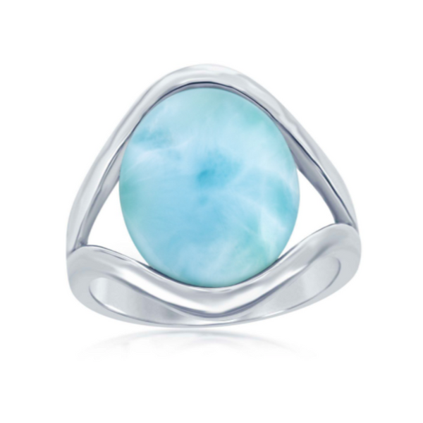 Sterling Silver Oval Larimar with Open Sides Ring