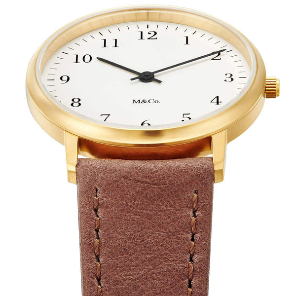 M & CO Bodoni Brass w/ Brown Band 33MM Watch