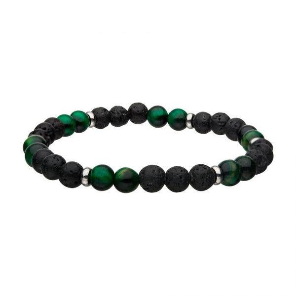 Lava & Tiger Eye Green Beads Bracelet 8""