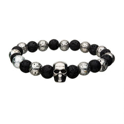 Black and Silver Lava Bead Bracelet with Skull Charm