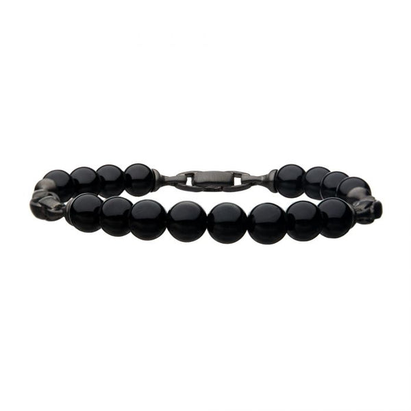 Stainless Steel w/ Black Agate Bracelet 7.75""