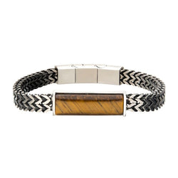 Stainless Steel Double Franco Chain w/ Tiger Eye Stone Bracelet 8.25""