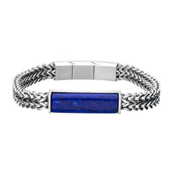 Stainless Steel Double Franco Chain w/ Lapis Stone Bracelet 8.25""