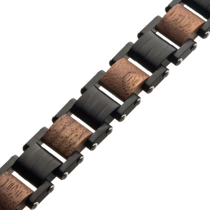 Stainless Steel w/ Walnut Wood Link Bracelet 8.25""