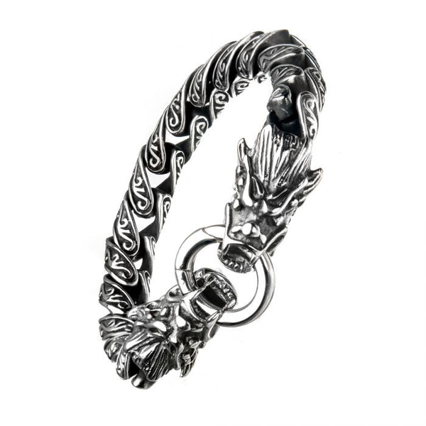 Steel Dragon Bite Bracelet 8.5""