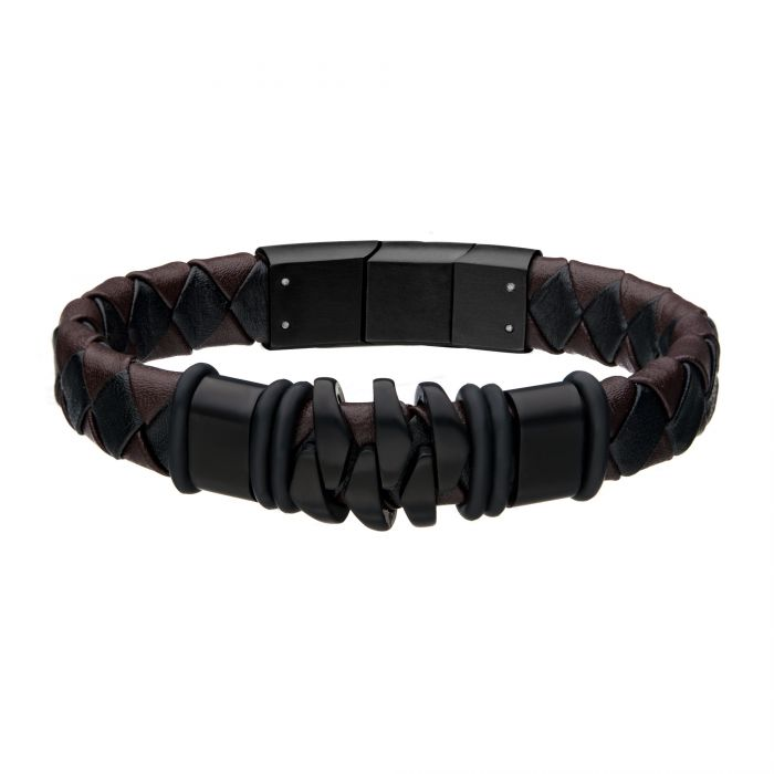 Steel and Black Plated Brown Leather Bohemian Bracelet