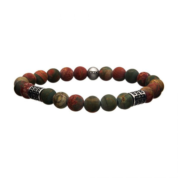 Picasso Jasper Stone with Steel Beads Bracelet