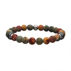 Picasso Jasper Stone with Decorative Steel Beads Bracelet