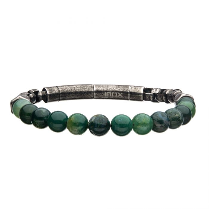 8mm Moss Agate Beads & Box Chain Bracelet 8.5""