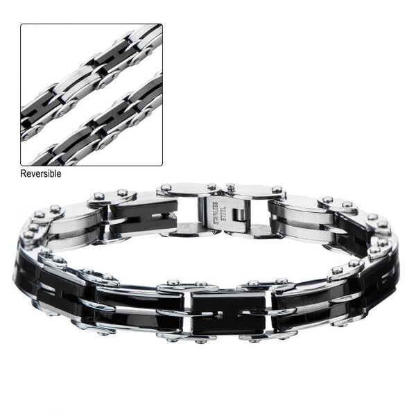 Black Plated H-Link Reversible Bracelet