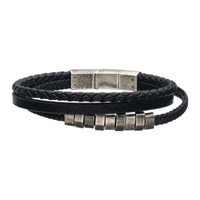 Black Braided Multi Leather with Antiqued Steel Beads Bracelet