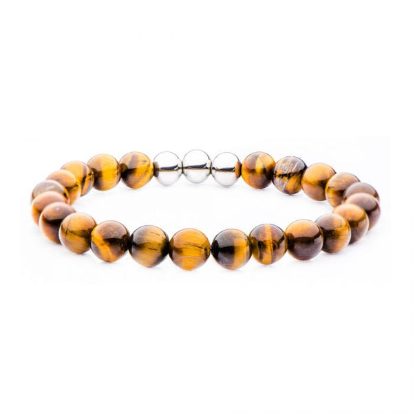 Stainless Steel, Tiger Eye Beaded Stretch Bracelet 8.5""