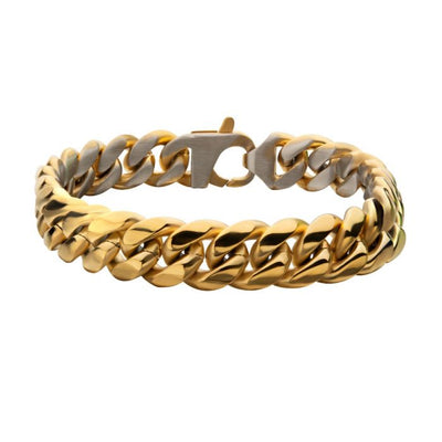 Gold Plated Reversible Curb Chain Bracelet