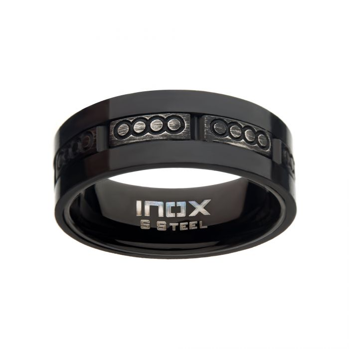 Antiqued Black IP & Carbon Fiber Ring