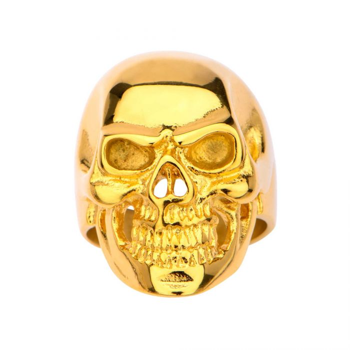 Gold Plated High Polished Skull Ring