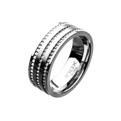 Stainless Steel Modern Ring with Ridges