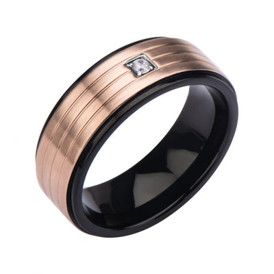 Black and Rose Gold Ring with Clear Gem