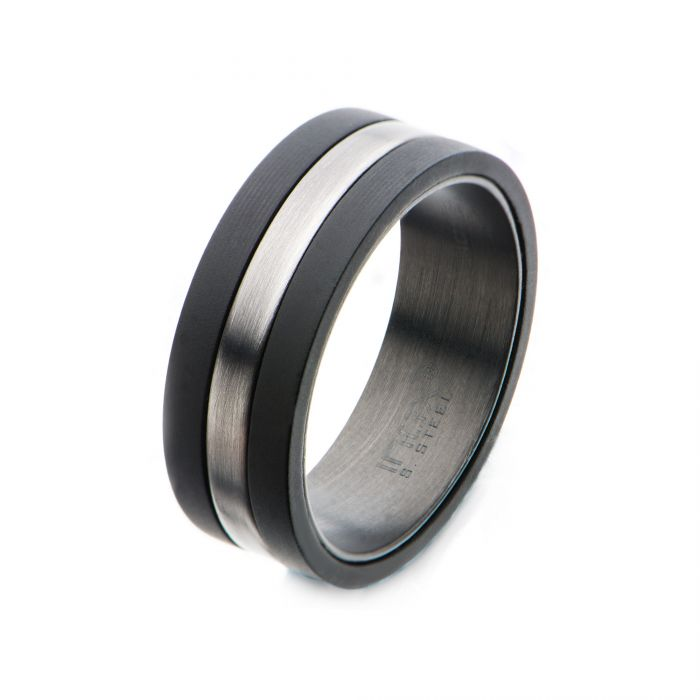 Carbon Fiber Ring with Antiqued Steel Inlay