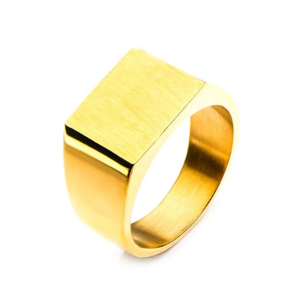 Gold Plated & Engravable Signet Ring