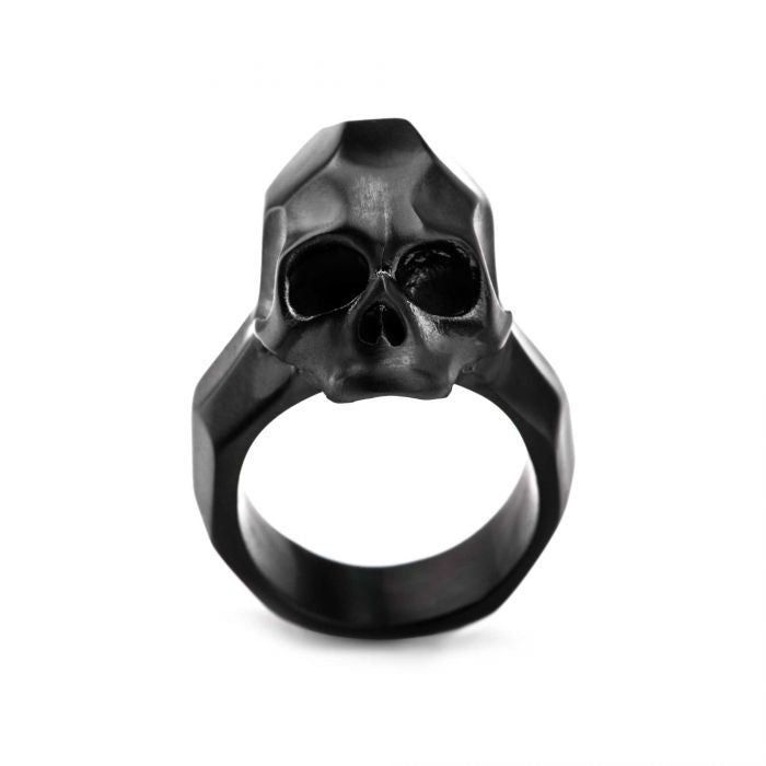 Matte Black Geometric Skull Ring