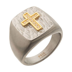 Steel Signet Ring with Gold Plated CZ Cross