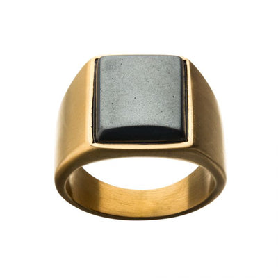 Gold Plated Hematite Signet Ring