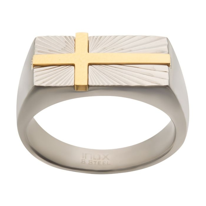Stainless Steel Signet Ring with Gold Plated Cross