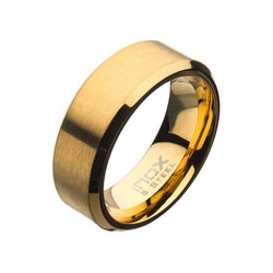 Matte Stainless Steel/Gold Plated Beveled Band