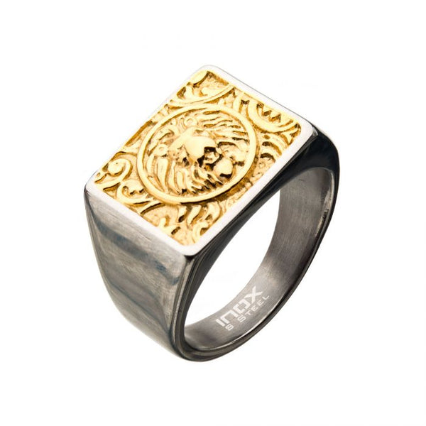 Steel Gold Plated Lion Signet Ring