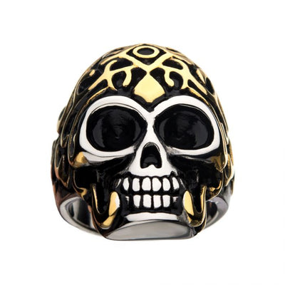 Oxidized Stainless Steel & Gold IP Skull Ring