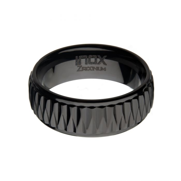 Black Zirconium Ridged Ring