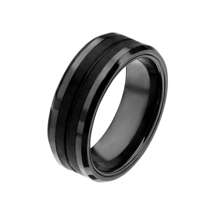 Black Ring with Double Carbon Fiber Inlays
