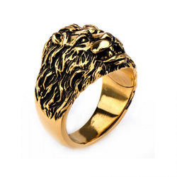 Stainless Steel Gold Plated Lion Crest Ring