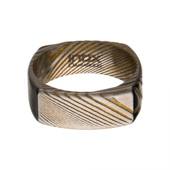 Damascus Steel Matte Gold Square Ring