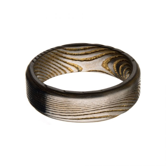 Damascus Steel Matte Gold Ring