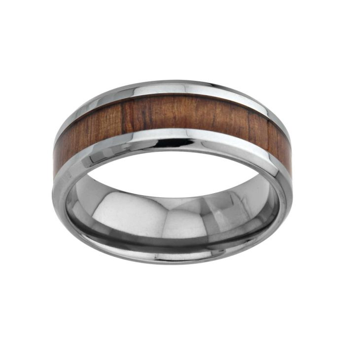 Wood Inlayed Titanium Ring