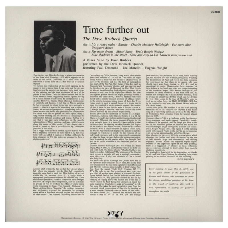 "The Dave Brubeck Quartet, Time Further Out (180G) 12"" Vinyl"