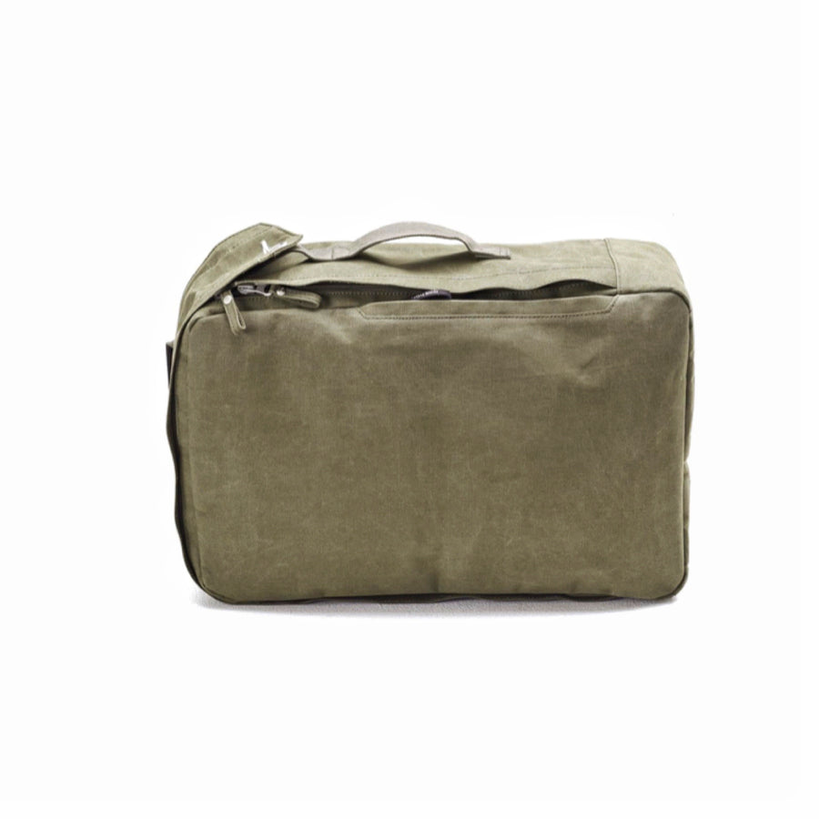QWSTION Olive Canvas Two-Way Backpack