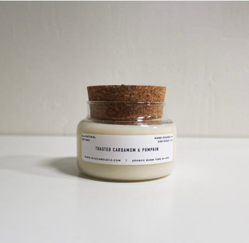 Toasted Cardamom & Pumpkin Leaf Soy Candle - 15 oz Apothecary Jar