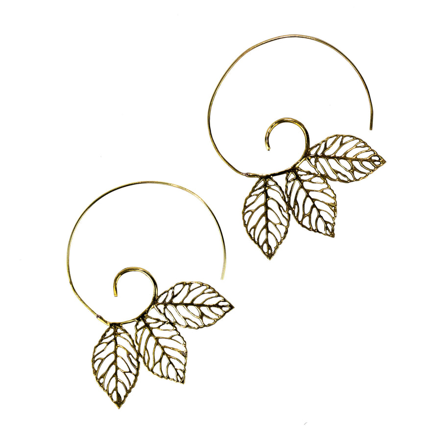 Triple Leaf Spiral Baizaar Earrings