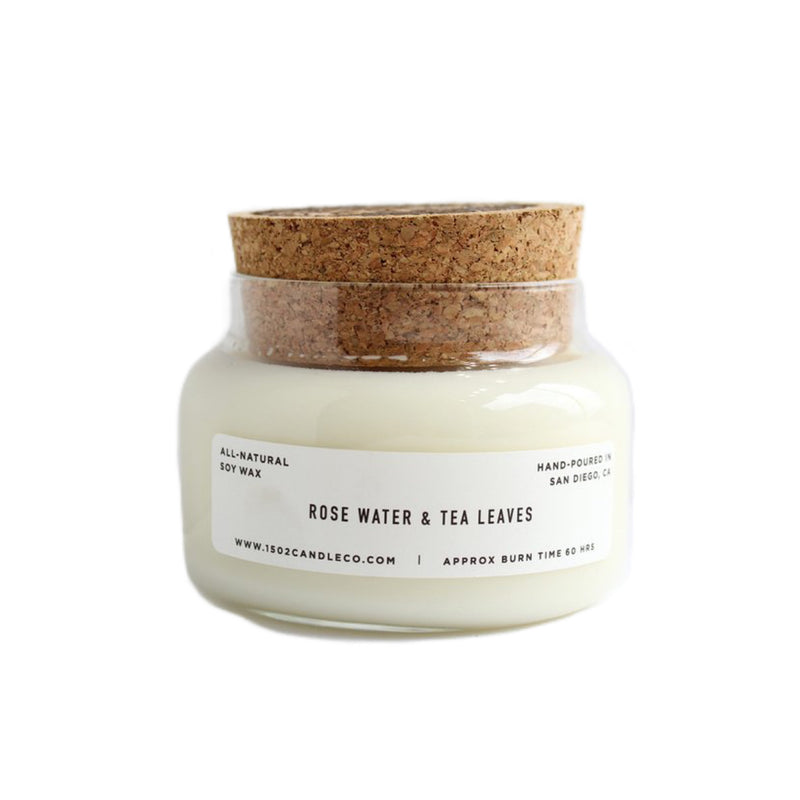 Rose Water & Tea Leaves Candle - 15 oz Apothecary Jar