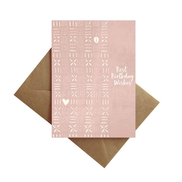 Pink Mud Cloth Wishes Card