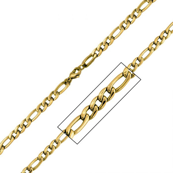 6mm Gold Plated Figaro Chain