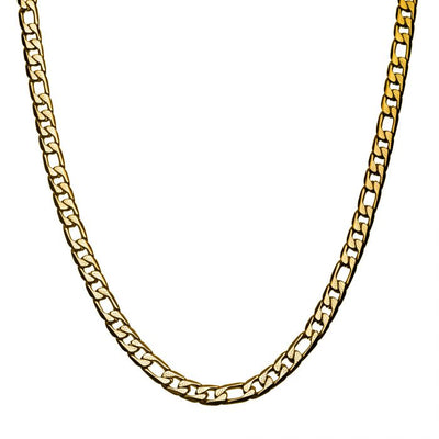 Stainless Steel & Gold IP 7mm Figaro Chain Necklace