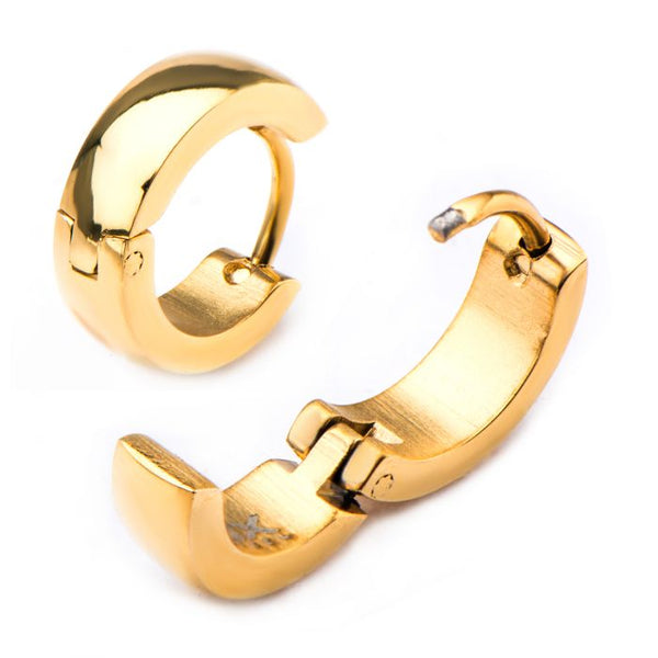 Stainless Steel Gold Plated Domed Huggie Earrings