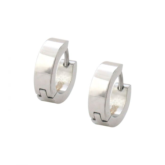 Stainless Steel Polished Huggie Earrings