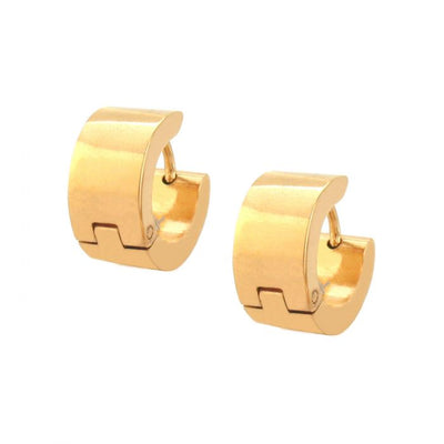 Stainless Steel Gold Plated Huggie Earrings
