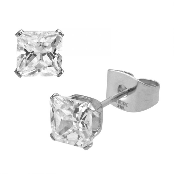 Stainless Steel Clear Square CZ Stud Earrings