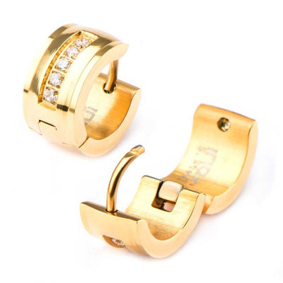 Gold Plated CZ Inlay Domed Huggie Earrings